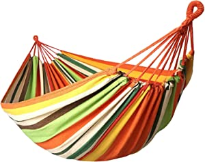 Garden Hammocks Comfortable Fabric Hammock Portable with Carrying Bag for Outdoor Patio Yard Backyard, Beach, Camping Travel, Load Capacity Up to 550 Lbs Canvas Cotton Hammocks