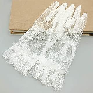 Women Elegant Lace Gloves for Bridal Wedding Prom Opera Party,Beige