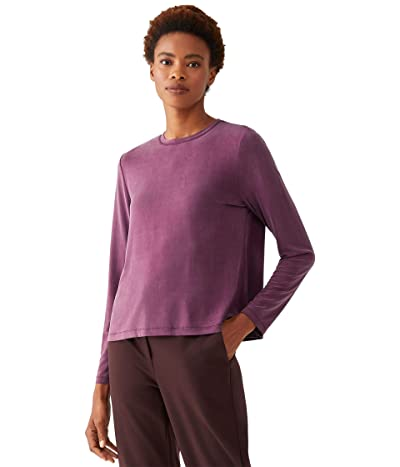 Eileen Fisher Crew Neck Long Sleeve Top (Jam) Women