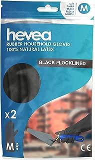 Guantes de l/átex flocados extragruesos para labores dom/ésticas exigentes Color: Negro peque/ña Talla: S Hevea Paquete de 6 pares