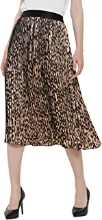Women's Leopard Print Skirt Elastic High Waisted Chiffon A-Line Pleated Midi Swing Skirts