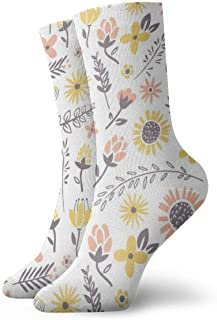 WEEDKEYCAT Flora Pattern Blue Leaf Pink Adult Short Socks Cotton Funny Socks for Mens Womens Yoga Hiking Cycling Running Soccer Sports