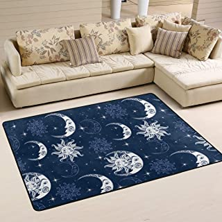 S Husky Large Area Rug for Living Room Mandala Bohemia Rug Folk-Custom India Star Moon Soft Baby Children Crawl Mat for Bedroom Classroom Decorative Carpet Floor Mat Play Mat 72 x 48 in 2042699