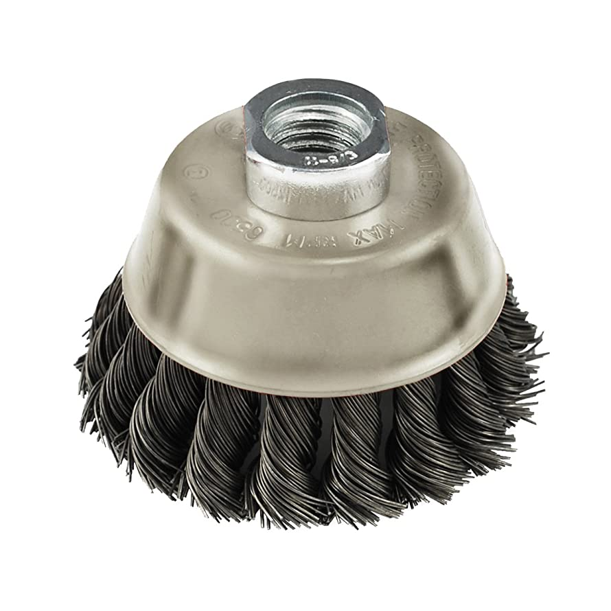 IVY Classic 39046 6-Inch x 5/8-Inch-11 Arbor, Carbon Steel Knot Wire Cup Brush - 0.020-Inch Coarse, 1/Card