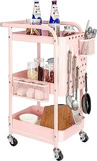 ELECWISH キッチンワゴン バスケットラック トローリー 大容量 収納ワゴン カート キッチン 浴室 居間 子供部屋 オフィス収納 3段 移動式キャスター付 組立簡単 (ピンク)