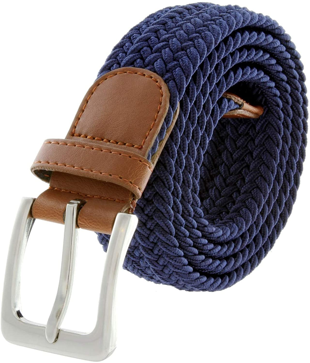 Mens Outlet ☆ Free Shipping Braided Elastic Fabric wholesale Woven Belt Stretch Inlay Na Leather