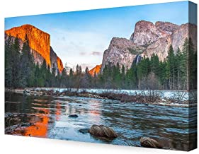 DECORARTS - View of El Capitan at Sunset, Yosemite National Park. Giclee Canvas Prints for Wall Decor. 36x24x1.5