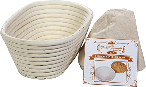 discount (10 x 6 x 4 inch) high quality Premium Oval Banneton Basket with Liner 2021 - Perfect Brotform Proofing Basket for Making Beautiful Bread sale