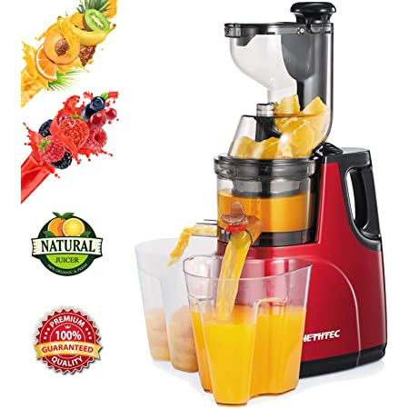 Masticating Juicer Machines, Hethtec Cold Press Juice Extractor with Large Double-Chute and Clean Brush for Fruits and Vegetables, High Yield, BPA-Free, 60R/M, 150W