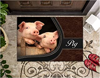LIFESELAZ Pig Leather Sewing Line Door Mat Welcome Hello Entrance Indoor Outdoor Non-Slip Rubber Doormat (Brown, M (17.7...
