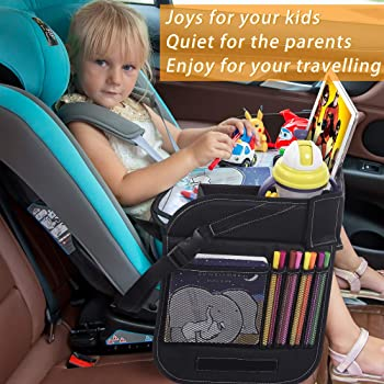 ZCECCO Lenbest Travel Tray Car Travel Tray For Children Car Back Seat Organiser With Tray Car Organisers Car Seat Tray Steering Wheel Table Car Desk