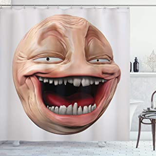 Ambesonne Humor Shower Curtain, Poker Face Guy Meme Laughing Mock Person Smug Stupid Odd Post Forum Graphic, Cloth Fabric Bathroom Decor Set with Hooks, 70
