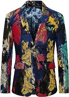 YOUTHUP Men's Floral Coats Colourful Splatter Stage Blazer Slim Fit Suit Jacket for Men