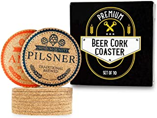 "Premium Cork Drink Coasters Set – Rounded 4"" Edge 1/5"" Thick – Contains 10 Custom Beer Style Coaster Designs - Excellent Trendy Housewarming Gift and Works For Any Size Drink"