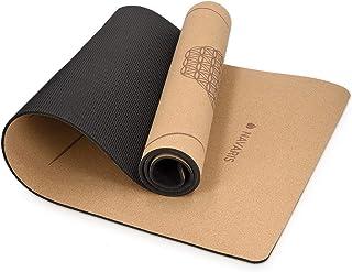 Navaris yogamat van duurzaam kurk - Anti-slip sportmat met schouderriem - Trainingsmat voor yoga en pilates - 183 x 61 x ...