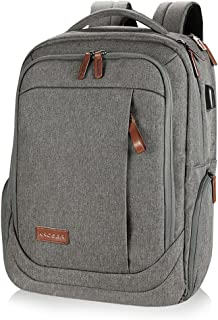 KROSER Laptop Backpack Large Computer Backpack for 15.6-17.3 Inch Laptop with USB Charging Port Water-Repellent School Travel Backpack Casual Daypack for Business/College/Women/Men-Grey
