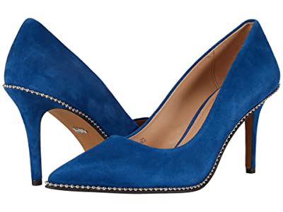 COACH 85 mm Waverly Pump with Beadchain (Ocean Blue) Women