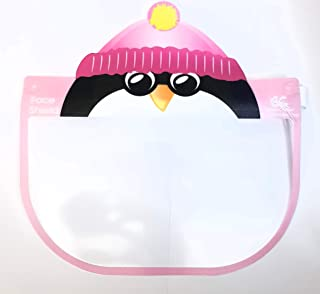 Kids Face Shield Face Full Mask Face Protection Anti-fog Dust-proof Protective Visor Full Face Covering Mask Shield (Pink Penguin)