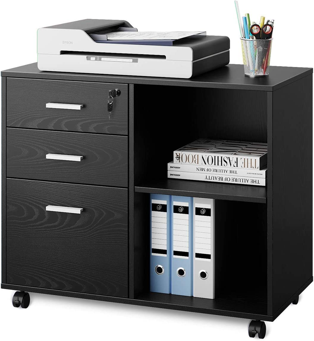 DEVAISE 3-Drawer Wood File Cabinet with Lock, Mobile Lateral Filing Cabinet, Printer Stand with Open Storage Shelves for Home Office, Black