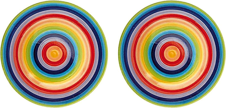 Windhorse Lot de 2 assiettes en c/éramique /à rayures arc-en-ciel 26 cm