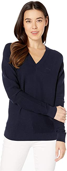Long Sleeve Cotton V-Neck Sweater