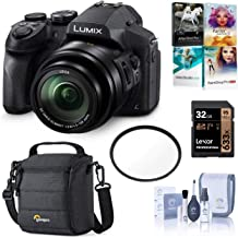 Panasonic Lumix DMC-FZ300 Digital Camera, 12.1 Megapixel, 1/2.3-inch Sensor, 4K Video, Splash/Dustproof Body, 24X Zoom Lens F2.8 Bundle with Bag, 32GB SD Card, PC Software Pack, Filter, Cleaning Kit