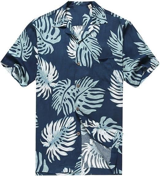 Hawaii Hangover Camisa Hawaiana de los Hombres Camisa Hawaiana Hojas de Palma en Azul Marino