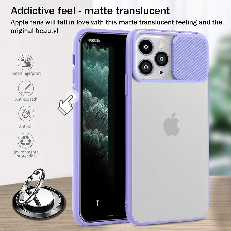 LS LANGSHUN Funda para iPhone 11 Pro MAX, Protecci/ón de la c/ámara Transl/úcidos Mate Bordes Suaves con Soporte de 360/° Anillo /& Soporte magn/ético para tel/éfono para autom/óvil /& Placa de Metal 2PCS
