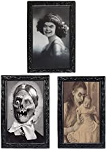 TRIXES Pack of 3 Halloween 3D Lenticular Magic Moving Picture Frames - Changing Face Portrait Horror Decoration for Haunted Spooky Themed Parties - 38 X 25 cm