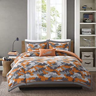 4 Piece Kids Boys Grey Orange Camouflage Comforter Full Queen Set, Army Camo Bedding Light Gray Colors Military Pattern Abstract Helicopter Pillow Teen Childrens, Polyester