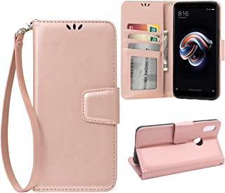Teebo Flip Case for Xiaomi Redmi Note 5 Pro, Scratch-Proof Leather Wallet Stand Cover with Card Holder Phone Case Protector for Xiaomi Redmi Note 5 Pro, Rose Gold