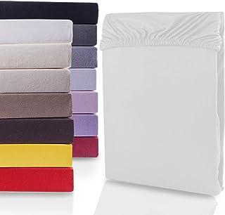 DecoKing Dra-på-lakan Spännlakan 100% bomull Jersey boxhoppbädd Vit 180x200-200x200 Nephrite 165 g/m²