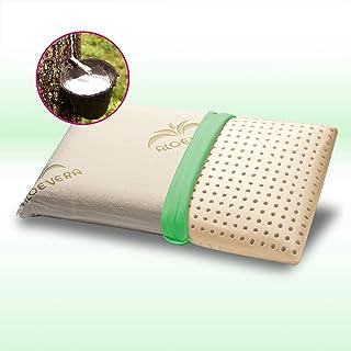 GEEMMA s.r.l. Almohada de látex natural, 40 x 70 x 12 cm, almohada para cama modelo pastilla con tejido de aloe vera desenfundable y lavable, cojín para colchón hipoalergénico - Natural Milk