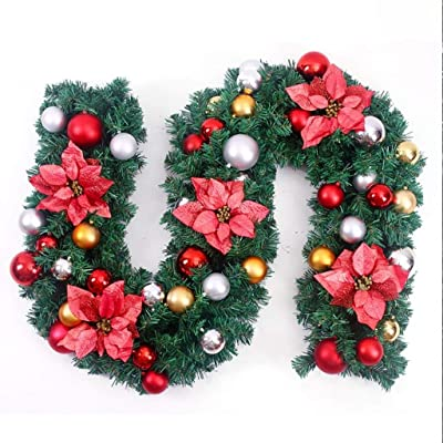 LPxdywlk 2.7m Christmas Artificial Flower Vine Rattan Garland Wreath Hanging Party Decor Decorative Props Blue