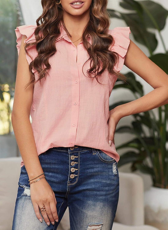 BLENCOT Womens Casual Crochet V Neck Tops Ruffle Cap Short Sleeve Shirts Blouses