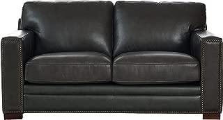 Coja by Sofa4life Benson Leather Loveseat, Grey