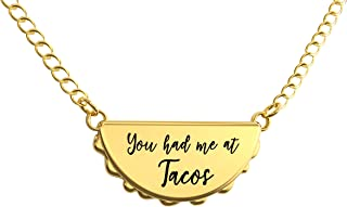 Happy Kisses Taco Necklace – You Had Me at Tacos Pendant – Cute Charm Gift for Any Friend Who Loves Tacos – in Gold and Silver