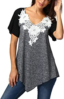08fdee9e923c1 Kim88 Women Tops Ladies Plus Size V Neck T-Shirt Short Sleeve Casual Blouse