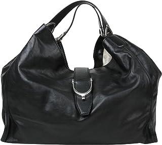 Gucci Stirrup Black Calf Leather Large Hobo Bag Handbag 296855 1000