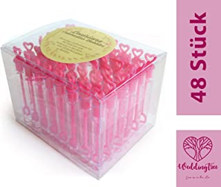 WeddingTree 48 pompas de jabón Rosa - con Mango en Forma de corazón para Bodas, bautizos, cumpleaños, San Valentín u Otras Celebraciones