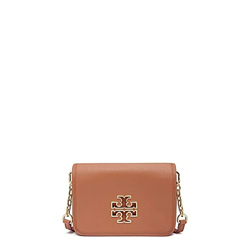 Tory Burch Britten Pebbled Leather Combo Crossbody Bag (Bark) 8040