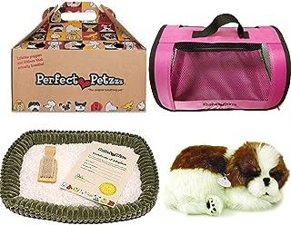Perfect Petzzz Sleeping Shih Tzu Plush with Pink Tote For Plush Breathing Pet