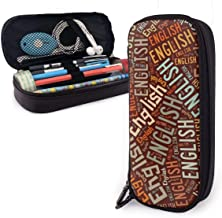 ZhaXiPingCuo English American Surname High Capacity Leather Estuche Pencil Pen Stationery Holder Large Storage Pouch Box Organizer School Makeup Pen Portable Cosmetic Bag