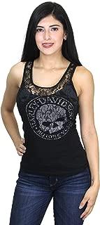Womens Lacey G Willie G Skull Lace Panel Black Sleeveless Tank - LG