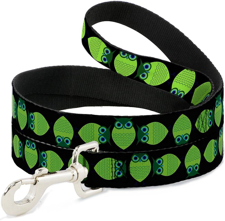 BuckleDown DLW31515N Narrow 0.5  Owls Spin Black Green Dog Leash, 4'