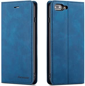 QLTYPRI iPhone 7 Plus 8 Plus Case, Premium PU Leather Cover TPU Bumper with Card Holder Kickstand Hidden Magnetic Adsorption Shockproof Flip Wallet Case for iPhone 7 Plus 8 Plus - Blue