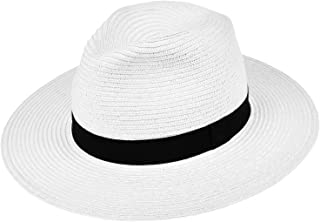 Men's Wide Brim Straw Panama Hat Beach Fedora Sun Protection