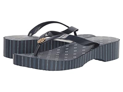 Tory Burch Cut Out Wedge Flip-Flop (Tory Navy/Shibori Dot) Women