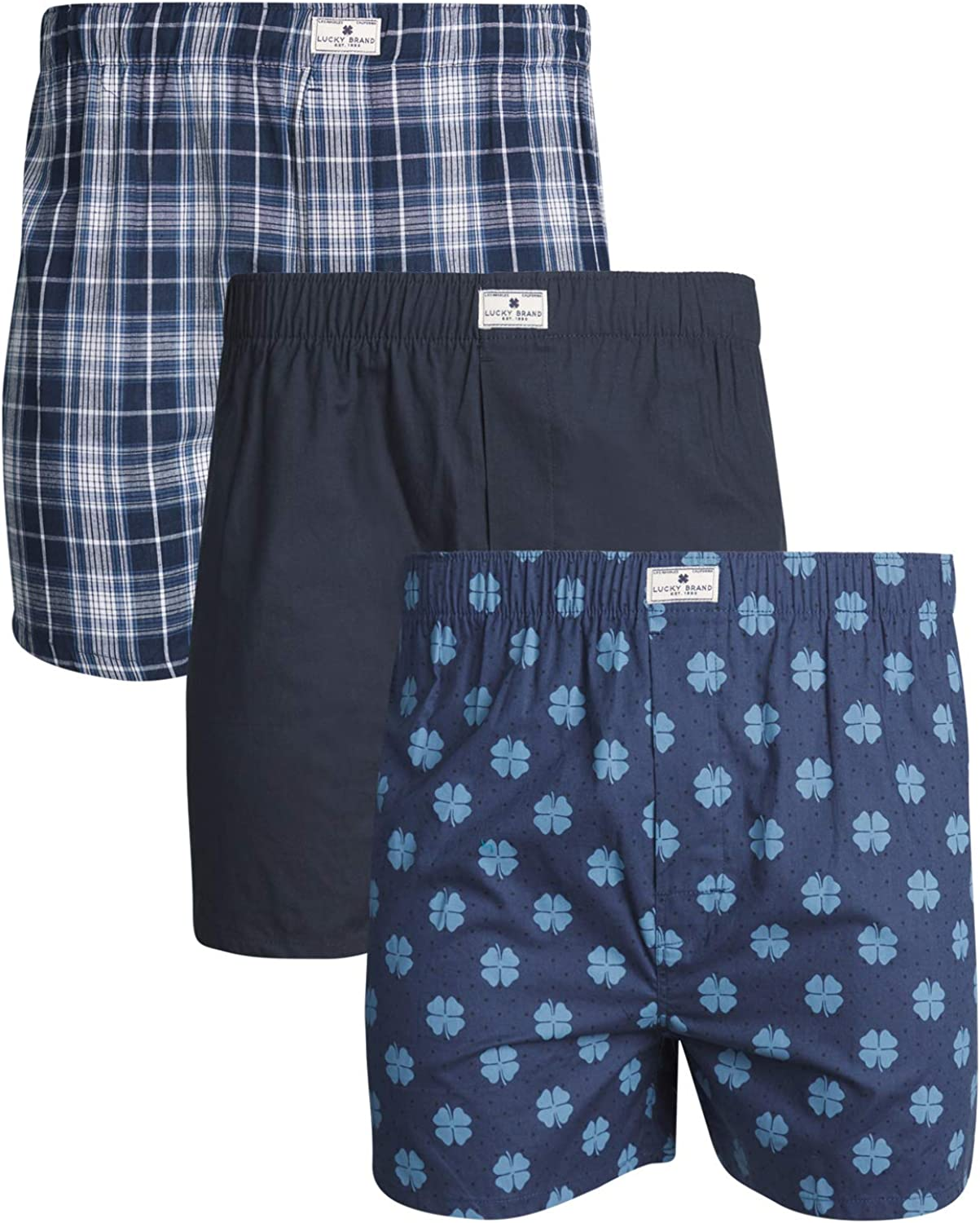 Lucky Brand Men's Woven Cotton Classic Boxer Underwear with Functional Fly, 3-Pack