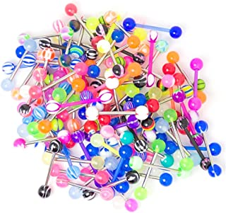 20, 50 or 100 Straight Piercing Barbells - 316 Surgical Steel/Bioflex / UV Glow Mix - Perfect for Small Shops or Individuals